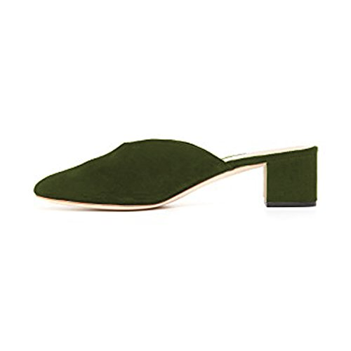 Slip on Turquoise Heels Clogs Pumps Shoes Mules Toe Women YDN Slide Casual Round Block Low qYXwpYSH