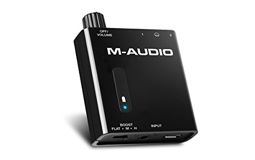 M-Audio Bass Traveler Portable Powered Headphone Amplifier with Dual Outputs and 2-Level Boost