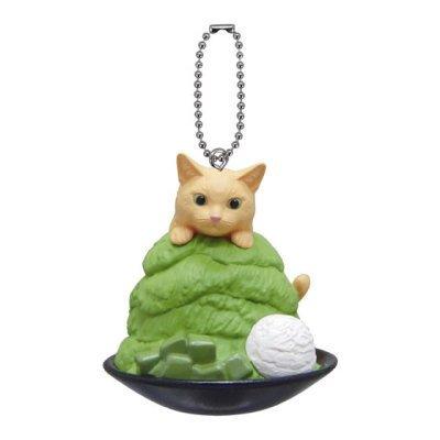 Anicolla series Gashapon Neko Cafe 9 Shaved ice (Green Tea ) cat with Keychain Capsule Toy
