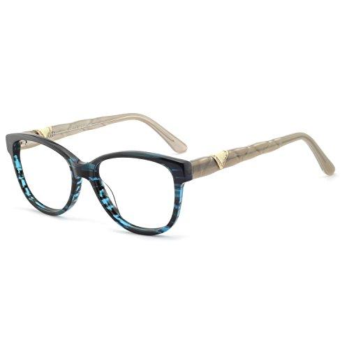 OCCI CHIARI Women Eyewear Frames Fashion Optical Acetate Eyeglasses with Clear Lenses (C-Blue/Cream White(Anti Blue ()