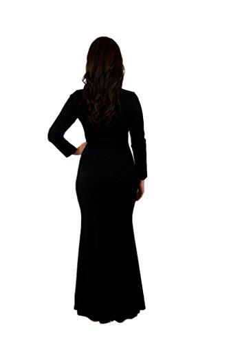 Charme Robe À Manches Longues Semi-formel Pour Vos Femmes Prince Noir De Jais