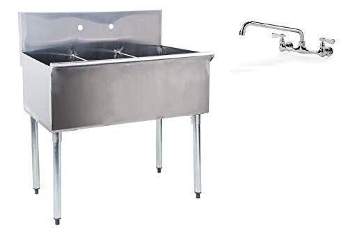 """Commercial Stainless Steel Three 3 Compartment Kitchen and Utility Budget Sink with 12"""" Faucet (18.5"""" Width x 36"""" Length)"""