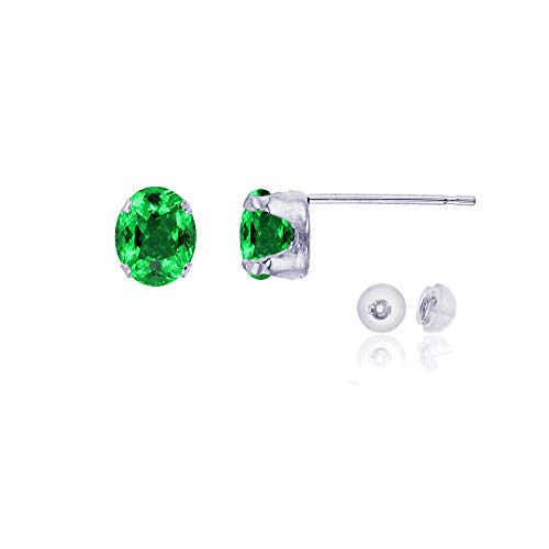 Genuine 14K Solid White Gold 6x4mm Oval Natural Green Emerald May Birthstone Stud Earrings ()