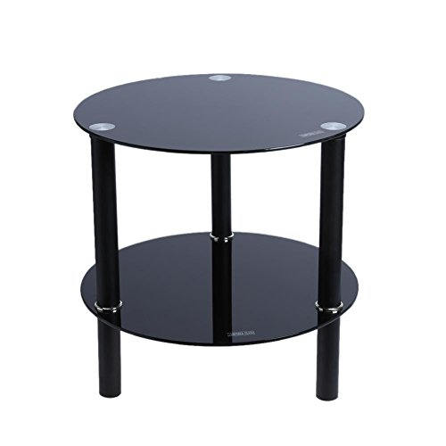Vanpower Black or Clear Glass Round Side Table 2 Tier Coffee Or Lamp Blake (Tier Lamp 2)