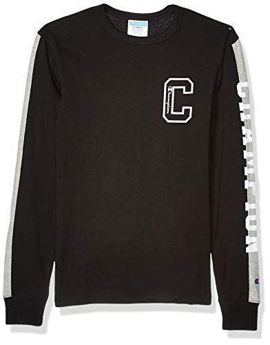 Champion LIFE Men's Heritage Long Sleeve Pieced Tee, Black/Oxford Grey, Small