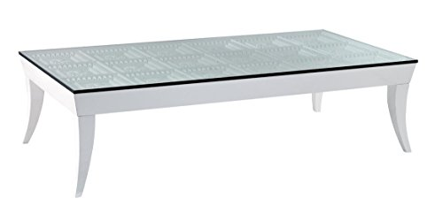VGWCTEM-8CF002 Temptation Othello Rectangular Coffee Table with Tempered Glass Top Gaofeng E1 Grade MDF and Piano Baking Gloss in White (Mdf Rectangular Table)