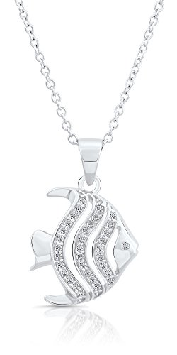 Angel Fish Necklace - Sterling Silver Cubic Zirconia Angelfish Pendant Necklace (18)
