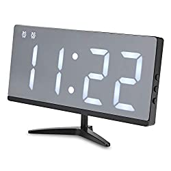 AK-SQ-clocks LED Mirror Digital Alarm Clock Multifunction Snooze Display Time with Bracket CL (Color : Silver)