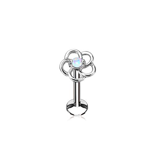 (MoBody 16G Opal Centered Hollow Flower Top Labret Piercing Surgical Steel Internally Threaded Monroe Lip Ring Helix Earring (Opal White, 8))