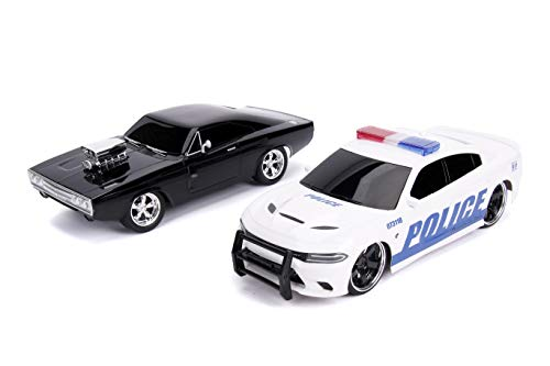 Jada Fast & Furious Chase Twin Pack- Dom's Dodge Charger R/T & Dodge Charger SRT Hellcat, Police & Chase Car Rc, USB… 2
