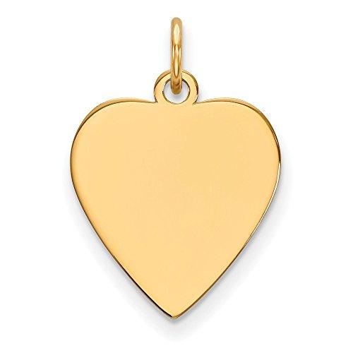 Diamond2Deal 14k Yellow Gold Plain .027 Gauge Heart Engravable Disc Charm from Diamond2Deal