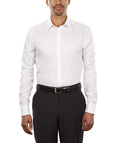 Calvin Klein Men's Dress Shirt Non Iron Solid, White, 18