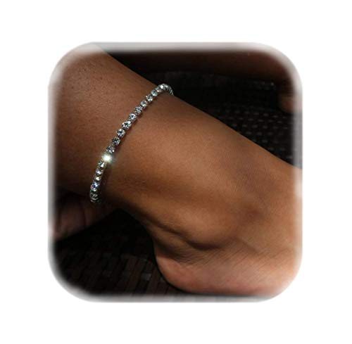 Mooinn Crystal Anklet Sexy Rhinestone Stretch Anklets Tennis Ankle Elastic Bracelets for Women-1 Row
