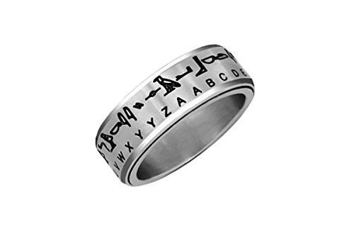 Hieroglyph Translator Ring Silver Size 08
