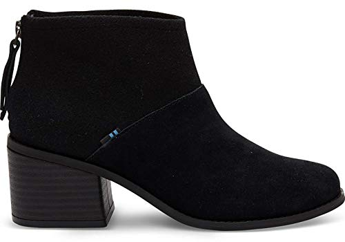 TOMS Women's Lacy Bootie (7 M US, Black Suede/Felt Mix)