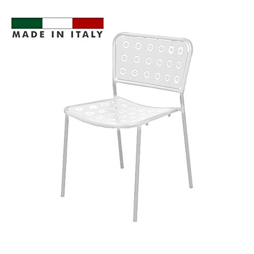 Rd Italia Silla Apilable De Metal Y Hierro Color Blanco