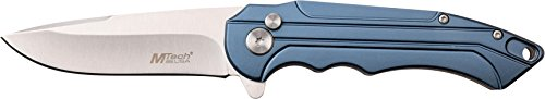 MTech USA MT-1022BL Manual Folding Knife, Satin Silver Straight Edge Blade, Blue Handle, 4.5-Inch Closed