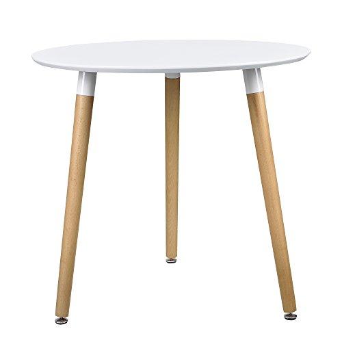 [en.casa] Esstisch Rund Weiß [H:75cmxØ80cm] Holz Tisch Retro Küchentisch