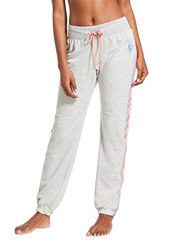 U.S. Polo Assn. Womens French Terry Side Stripe Jogger Lounge Sleep Sweatpants Pajamas Heather Grey Large