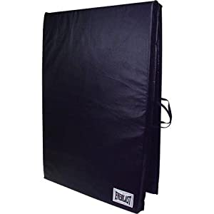 2' x 6' Folding Non Absorbent Shell Exercise Mat with Sewn Handle , Black