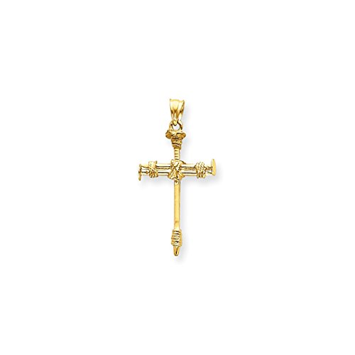 ICE CARATS 14k Yellow Gold Nail Cross Religious Pendant Charm Necklace Passion Fine Jewelry Ideal Mothers Day Gifts For Mom Women Gift Set From Heart (Nail Gold 14k Yellow)