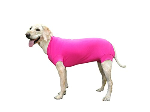 VetMedWear New Suit, Protective Wear Recovery Suit Wound Bandage Protection. After Dog Surgery, Hot Spots Skin Disease. E-Collar Alternative Dog Wound. Dog After Surgery Wear. (Pink, XXL) (Body Suit For Dogs)