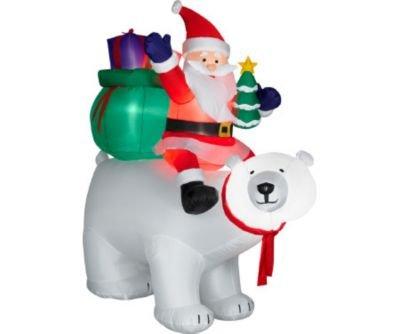 christmas inflatable 6 santa on polar bear - Polar Bear Inflatable Christmas Decorations