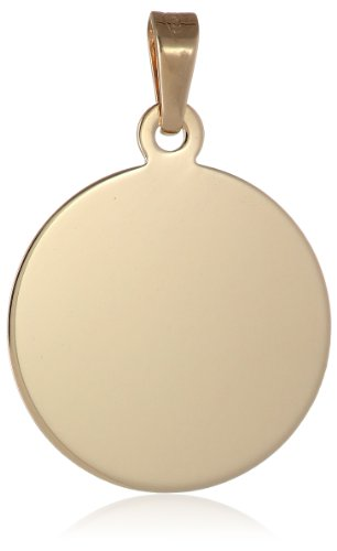 14k Yellow Gold Italian Round Disc Charm