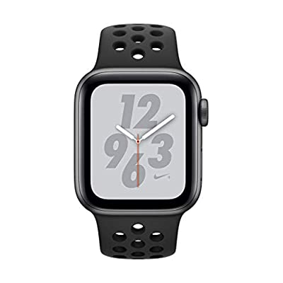 Apple Watch Series 4 (GPS only) Aluminum Case Compatible with iPhone 5s and Above (Nike+ Edition Space Gray Aluminum Case with Anthracite/Black Sport Band, 44mm)