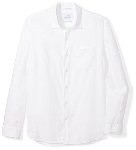 28 Palms Men's Relaxed-Fit Long-Sleeve 100% Linen Shirt, White, X-Large from 28 Palms