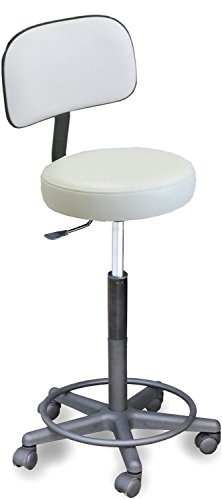 910 E Spa Aesthetician WHITE Stool w/Adjustable heigth & Back support Made in USA by Dina Meri by Dina Meri