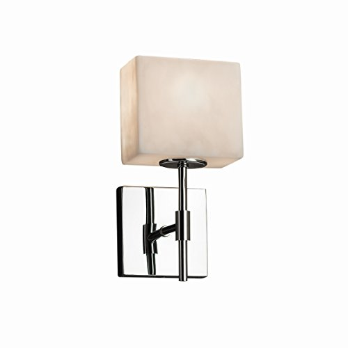 - Justice Design Group Lighting CLD-8417-55-CROM-LED1-700 Union Ada 1-Light Wall Sconce-Rectangle Shade-Clouds-LED, Polished Chrome