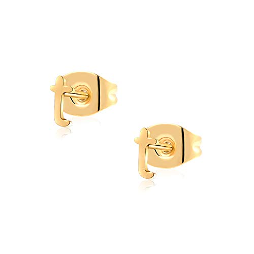 - T Initial Earrings for Women 14K Gold Plated Letter Earrings for Girls Nickel Free 316L Stainless Steel Alphabet Monogram Studs Tiny for Mother Aunt Wife Anniversary Valentine's Day Gifts