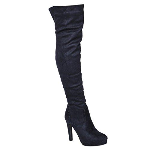 Beston FM34 Women's Side Zipper Plattform über Kniehohe Stiefel halbe Größe klein Marine