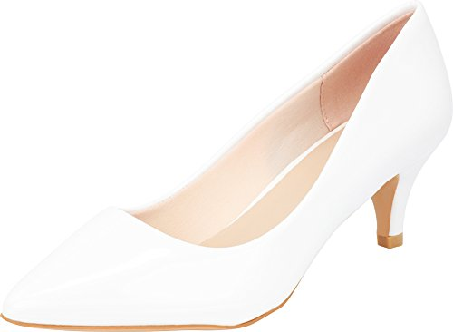 Image of Cambridge Select Women's Classic Closed Pointed Toe Slip-On Low Kitten Heel Pump,10 B(M) US,White Patent Pu