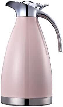 European Style 68 Ounce Vacuum Insulated Stainless Steel Carafe by BonNoces/Stainless Steel Coffee Carafe 2 Liter (Pink)