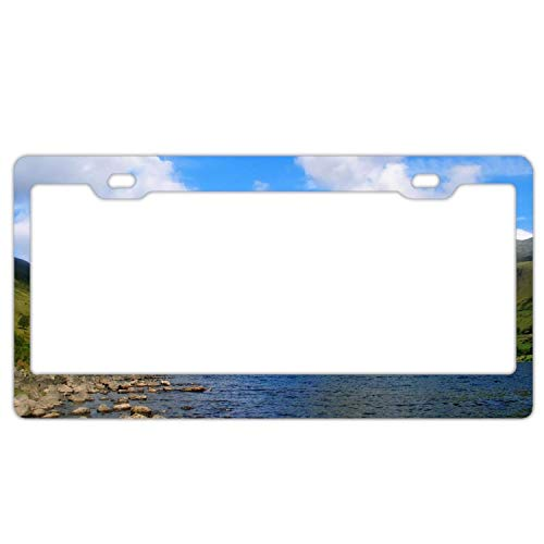 YEX Abstract Landscape Lake Rock Mountain Spring Sky Cloud6 License Plate Frame Car License Plate Covers Auto Tag Holder 6