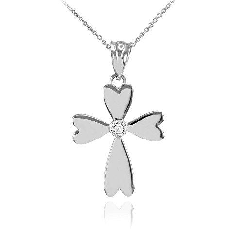 Collier Femme Pendentif 14 Ct Or Blanc Solitaire Diamant Cœur Croix Charme (Livré avec une 45cm Chaîne)