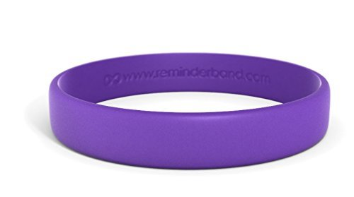 Reminderband Classic Custom Silicone Wristband/Personalized Silicone Bracelet/Rubber Bracelet (Purple, Large) - Thick Plastic Bracelet