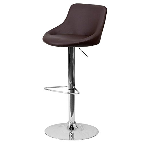 - KLS14 Modern Design Bar Stool Bucket Seat Design Hydraulic Adjustable Height 360-Degree Swivel Seat Sturdy Steel Frame Chrome Base Dining Chair Bar Pub Stool Home Office Furniture - (1) Brown #1985