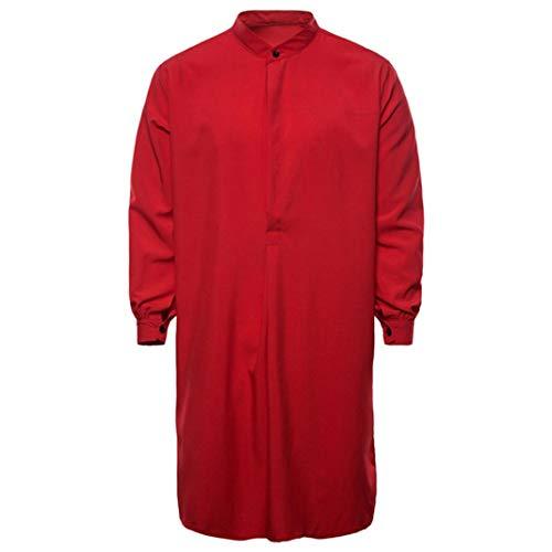 WUAI Men's Casual Muslim Islamic Arabic Clothing Long Sleeve Regular Fit Dress Shirt(Red,US Size S = Tag M)