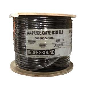 InstallerParts 500 Ft CAT 5E 350MHz High Performance CM/CL2 Type UL/CSA Listed Data Cable, Black Jacket 14516