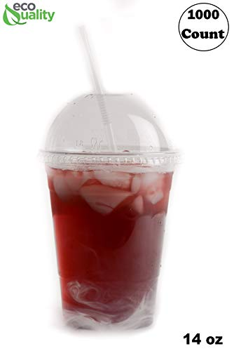 - 14 oz Cups, 1000 Pack | Iced Coffee Go Cups and Dome Lids | Cold Smoothie | Plastic Cups with Dome Lids | Clear Plastic Disposable Pet Cup | Ideal for Coffee, Parfait, Juice, Soda, Cocktail,Party Cups