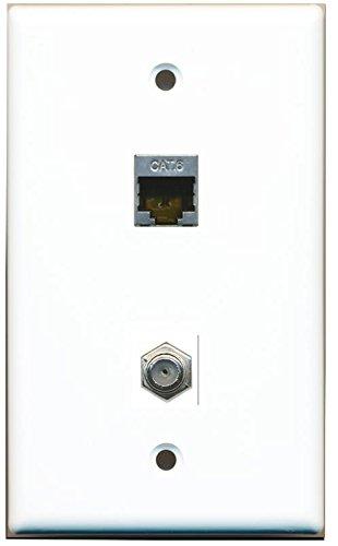RiteAV 1 Gang Wall Plate (White) 2 Port - Cat6 (Shielded) Coax (White)