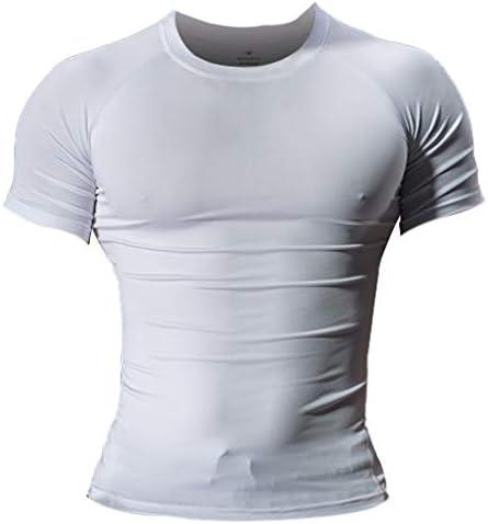 Heren Skinny Tight Compressie Basislaag Tshirt met korte mouwen Bodybuilding Tops Nylon en Spandex