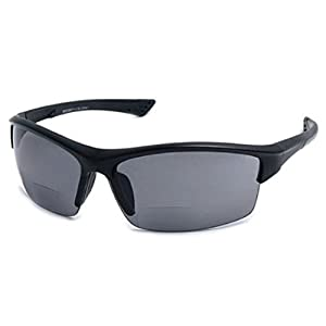 The Foster Bifocal Sun Reader Sport and Wrap Around Reading Sunglasses, Unisex Half Frame Readers for Men and Women in Black +2.00 (Microfiber Pouch Included)