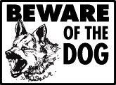 Warning! Beware of German Shepherd Aluminum Dog Sign, 12 x 9
