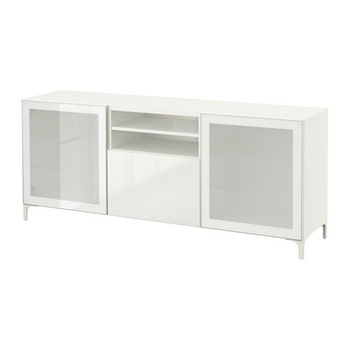 Ikea TV unit with soft-closing drawers, white, Selsviken high-gloss/white frosted glass (Frosted Glass Tv Stand)