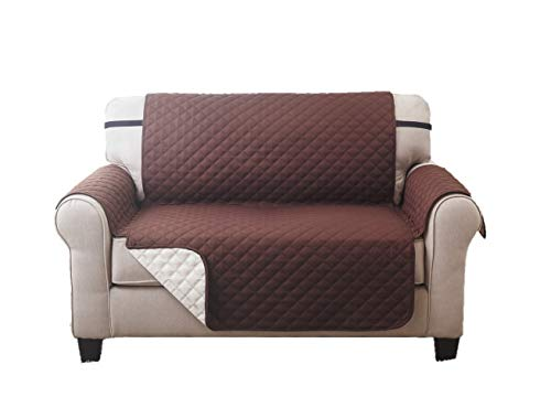 Deluxe Reversible Loveseat Slipcover Furniture Protector, Seat Sofa, Chair, Couch Quilted, Anti-Slip 2 Inch Strap, Machine Washable, Slip Cover Throw for Pets, Dogs, Cats, Kids - Coffee / Tan