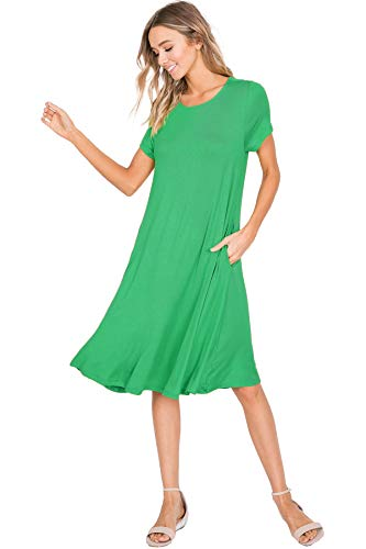 (Annabelle Women's Short Sleeve Saint Patrick Flowy Swing Dresses with Pockets Kelly Green Small)
